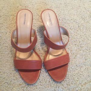 J Crew Leather Brown cognac heels 9.5
